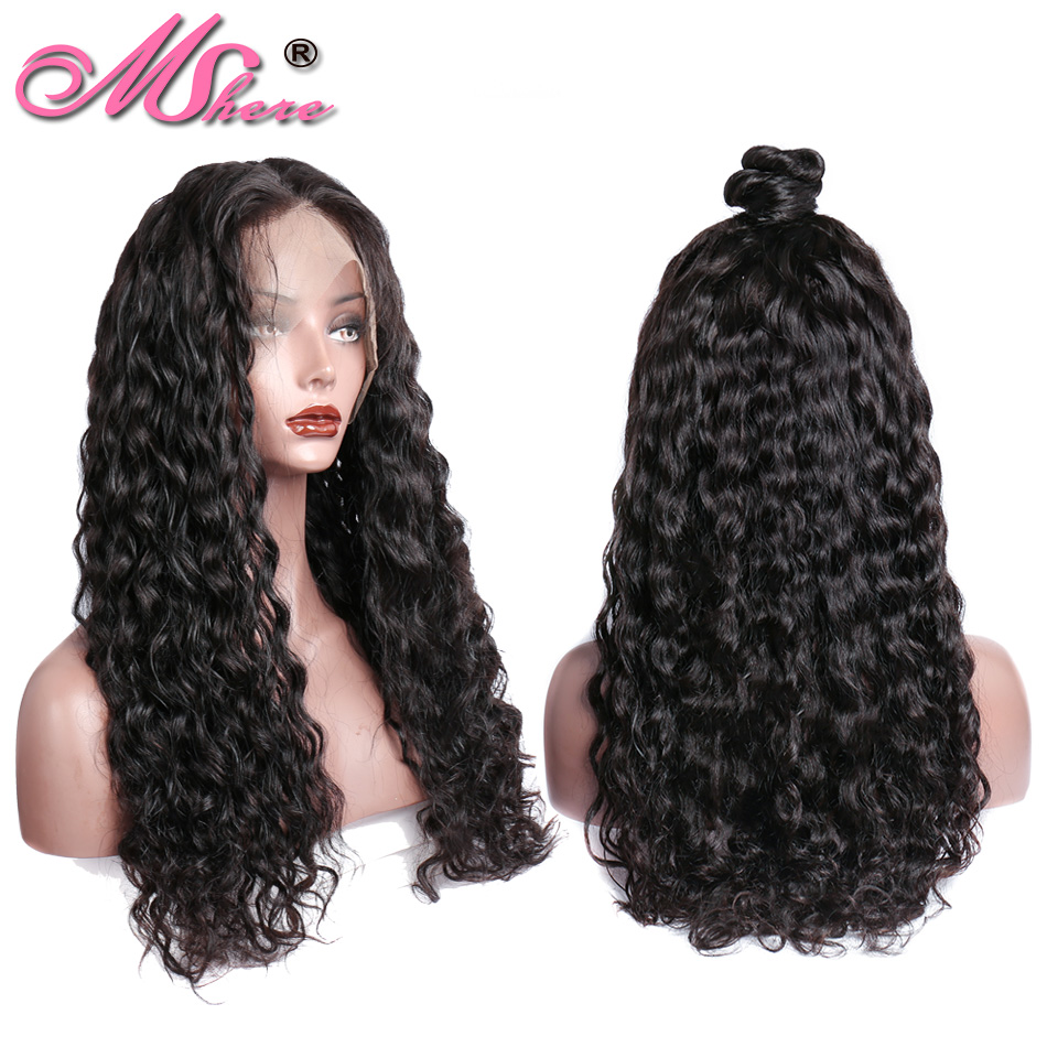Mshere 360 Lace Frontal Wig Water Wave 360 Lace Front Human Hair Wigs For Women PrePlucked Brazilian 180% Density Remy Hair wig