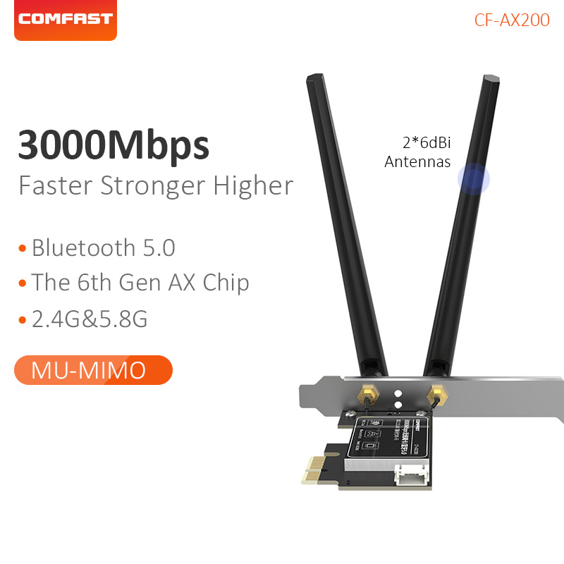 Comfast Gigabit 2974Mbps Dual Band 2.4&5.8G Intel External 2*6dBi <font><b>PCIE</b></font>-X1 Bluetooth5.0 Strong Transmission for Window10 <font><b>AX200</b></font> image