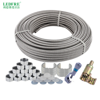 LF16006 20Meters 304 Stainless Steel Corrugated Tube 1/2 3/4DIY Pipe Plumbing Hose Retractable Water Hose Corrugated Connector