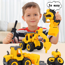 Assembling Bulldozer-Drilling Engineering Excavator Pressure-Car Children's DIY And Car-Combination-Set