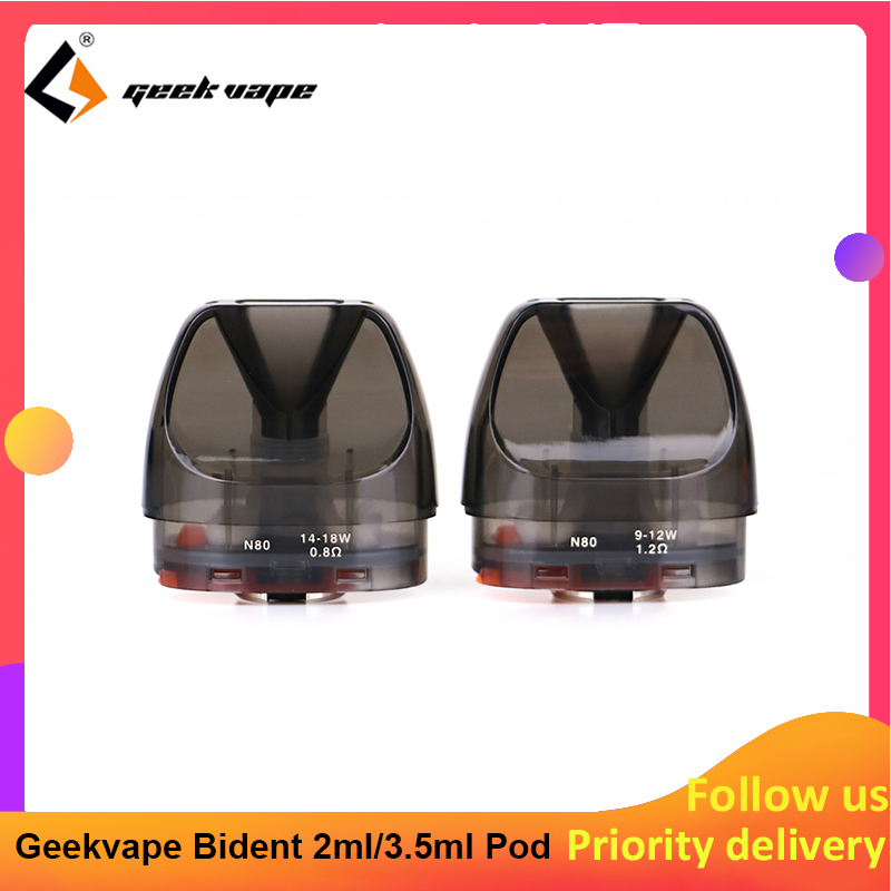 2pcs/pack Geekvape Bident Pod Cartridge 2ml/3.5ml Capacity With 0.8ohm/1.2ohm Coil Support DTL/MTL Vaping For Bident Kit