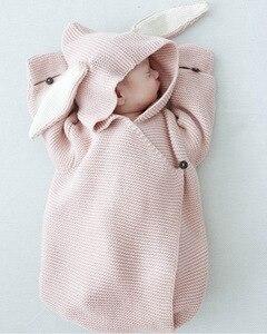 Image 2 - Barboteuse pour bébé, sac de couchage stéréo pour nouveau né, oreilles de lapin, tricoté, vêtements pour bébé, nouvelle collection, automne