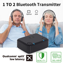 Aptx baixa latência transmissor de áudio óptico bluetooth para tv adaptador de áudio sem fio para fones de ouvido duplos ou alto falantes mr270