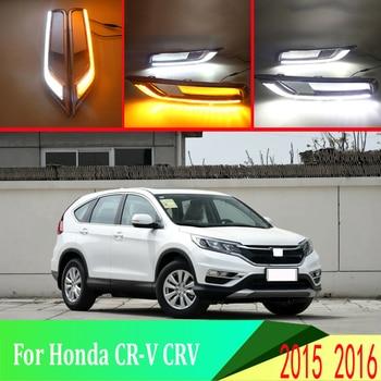2pcs For Honda CR-V CRV 2015 2016 LED Daytime Driving Running Light DRL Car Fog Lamp  6000K White Light Turn Yellow Light