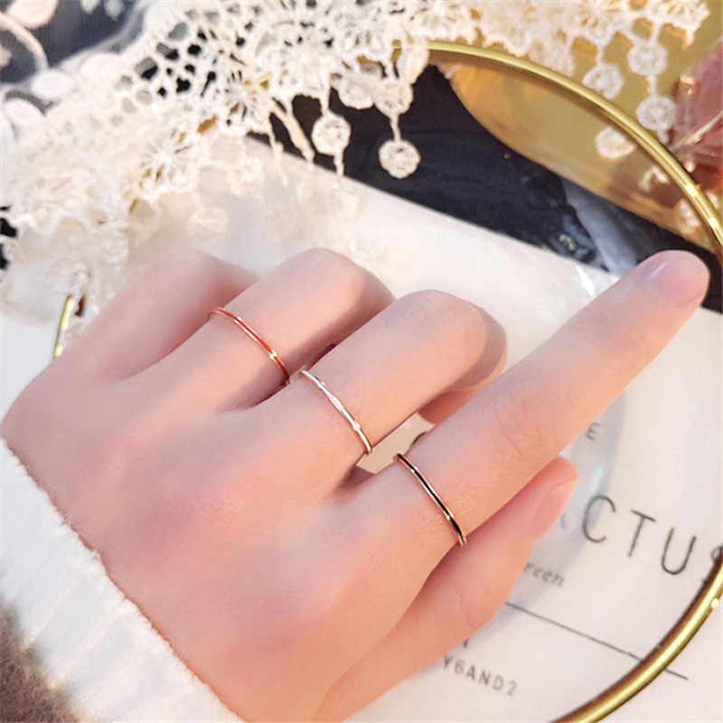 Yun Ruo Hitam Tipis Putih Enamel Warna Rose Gold Fashion Perhiasan Baja Titanium Hadiah Ulang Tahun Wanita Tidak Pernah Pudar DROP pengiriman