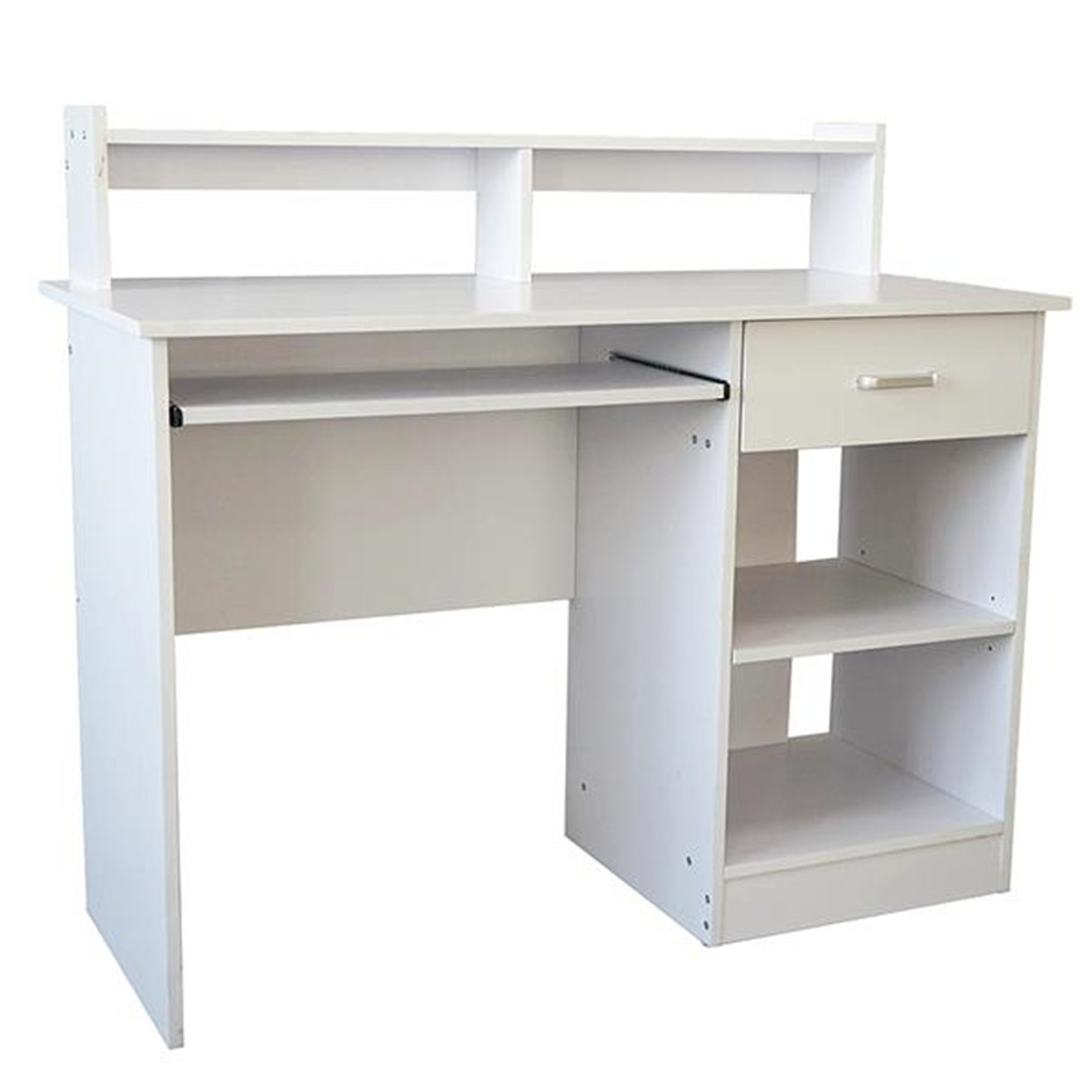 General Style Modern E1 15MM Chipboard Computer Desk White Furniture Computer Desk With Book Shelf