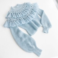 Ladies Sweet Mohair Pullovers 2020 Autumn Fashion Bloggers Style Long Lantern Sleeve Blue Pink Tassels Warm Knitting Sweaters