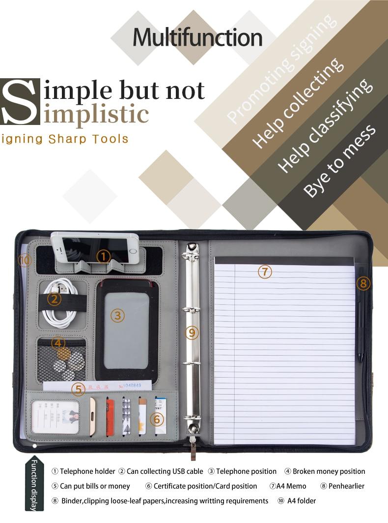 A4 Document Folder organizer PU Leather Zipper Ring Binder Conference Bag Business Briefcase padfolio Portfolio with Handle()