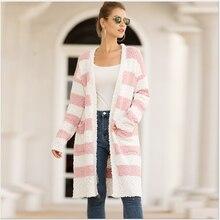 Women's cardigan 2020 new spring and autumn knitting women's popular granular velvet stripe color matchin