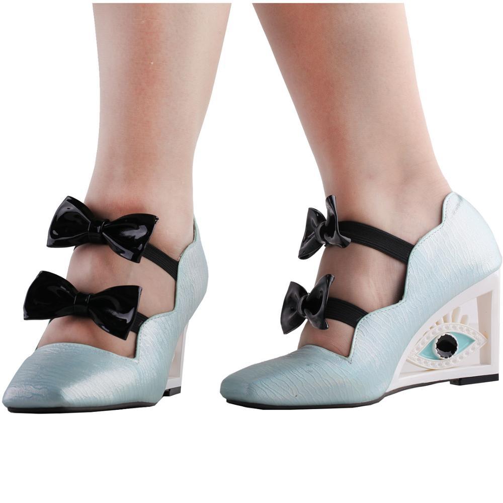 LF10805 SHOW STORY Vintage Blue Bows Square-Toe Wedge Eye Shape High Heels Pumps