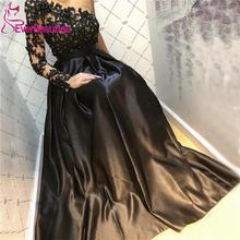 Женское вечернее платье на одно плечо Черное длинное винтажное