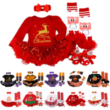 My 1st Christmas Baby Girls Romper Sets Shorts Dress Set Halloween Costume Clothes Baby Clothing 4Pcs Christmass Baby Gifts