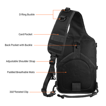20L Tactical Assault Pack Military Sling Backpack Army Molle Waterproof EDC Rucksack Bag for Outdoor Hiking Camping Hunting 5