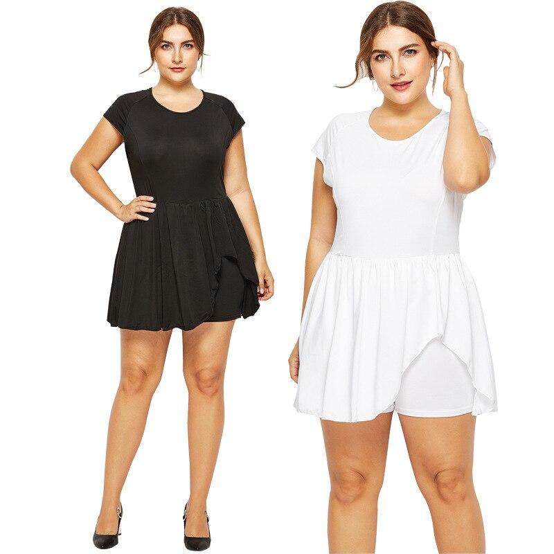 Fat Womens White Black Casual O-neck Short Sleeve Jumpsuits 2020 Fashion Patchwork Plus Size Mini Bodysuit Bodycon Bodysuit