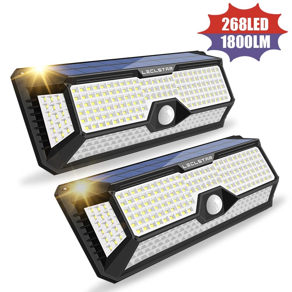 140/268 LED Solar Motion Sensor Light Outdoor Lighting Solar Powered Lamp For Garden Decoration Street Wall Sunlight Waterproof