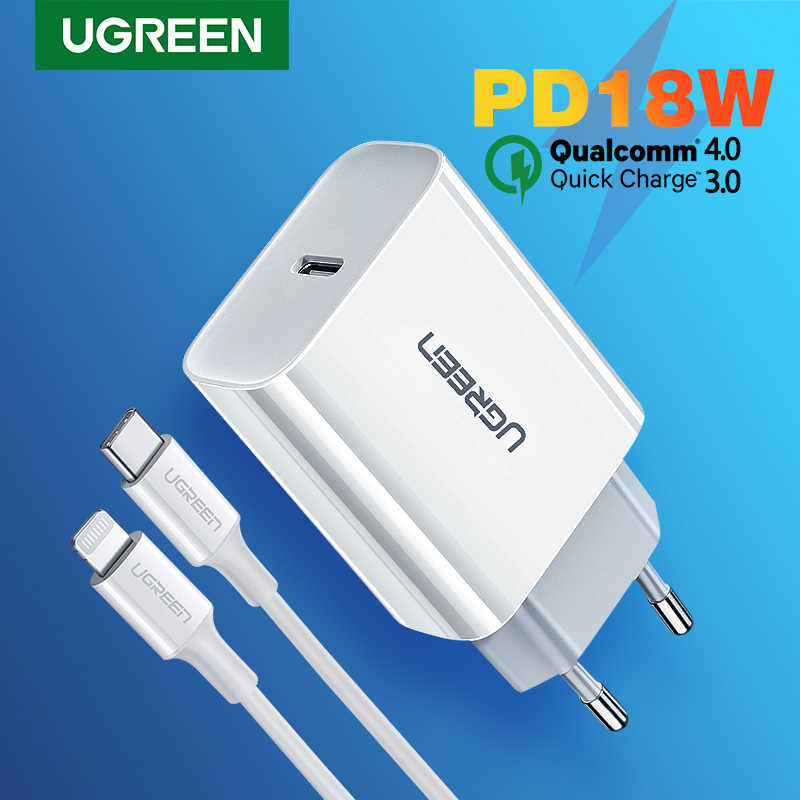 Ugreen Quick Charge 4.0 QC 3.0 PD Charger 18W QC4.0 QC3.0 USB Type C Fast ChargerสำหรับiPhone 11 X Xs 8 Xiaomiโทรศัพท์PD Charger