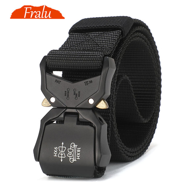 FRALU Tactical belt Military high quality Nylon mens training belt metal multifunctional buckle outdoor sports hook new