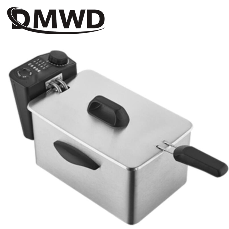 DMWD 2.5L Electric Deep Fryer Stainless Steel Oil Oven Chips Frying Pot Grill French Fries Chicken Fried Fish Machine EU US Plug