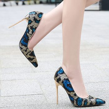 Voesnees Brand women's shoes New Fashion high heels 11cm Pumps Pointed Toe Shallow Mouth Dress Shoes Woman Printed Female pumps 4