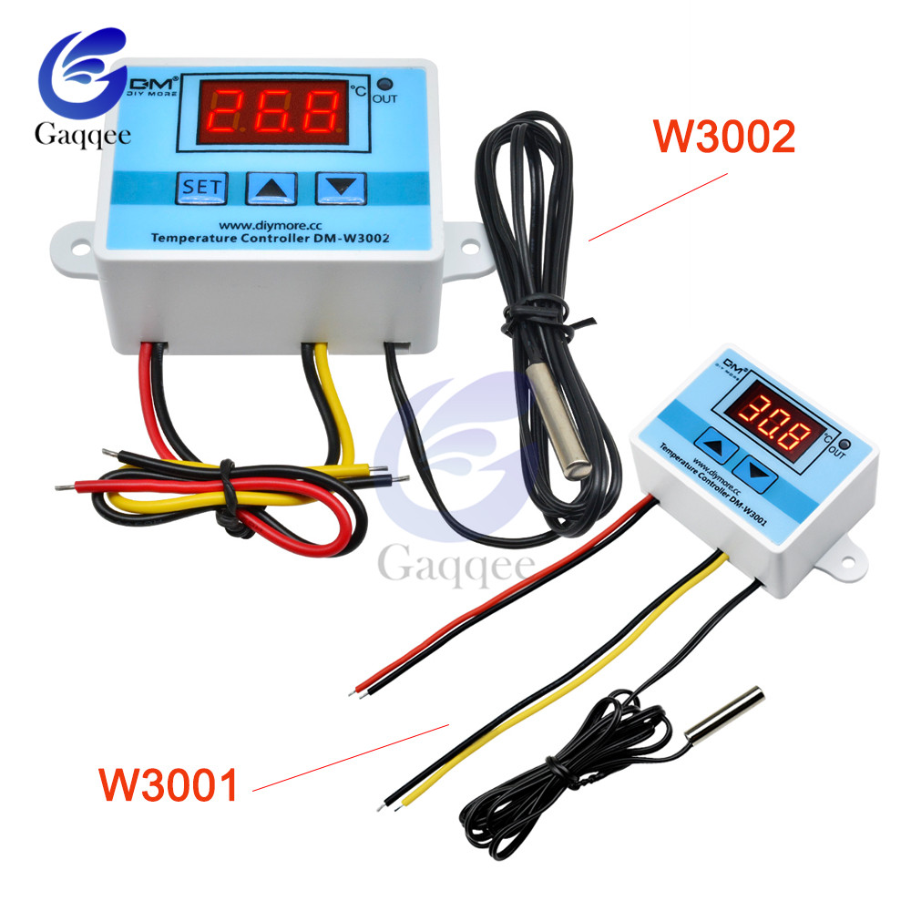 W3001 <font><b>W3002</b></font> LED Digital Control Thermostat Temperature Microcomputer Switch DC 12V 24V AC 110V-220V Thermoregulator With Probe image