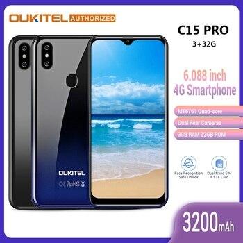 Перейти на Алиэкспресс и купить Смартфон OUKITEL C15 Pro 4G, большой экран 6,088 дюйма, Android 9,0 Pie, MT6761Quad Core, 2,4 ГГц/5 ГГц, Wi-Fi