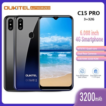 Перейти на Алиэкспресс и купить OUKITEL C15 Pro смартфон с 6,088 дюймовым экраном, Android 9,0 Pie MT6761Quad Core, 2,4 ГГц/5 ГГц, Wifi, мобильный телефон