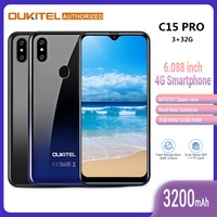 OUKITEL C15 Pro 4G Smartphone 6.088 inch Waterdrop Big Screen Android 9.0 Pie MT6761Quad Core 2.4GHz/5GHz Wifi Mobile Cell Phone