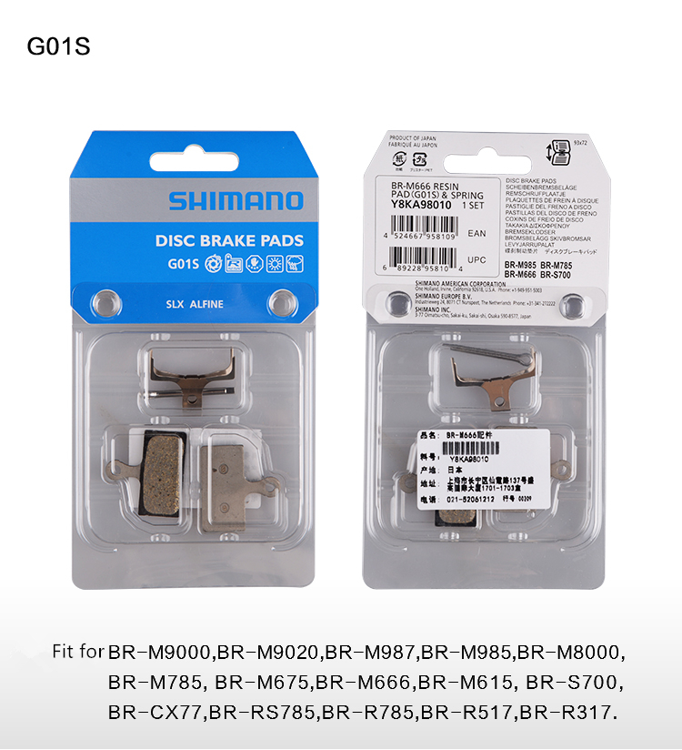 Shimano G01S Resin Disc Brake Pad and Spring for XTR M9000 XT M8000 SLX