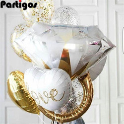 1set 18inch Round White Gold Glitter Print Mr&Mrs LOVE Foil Balloons bride to be marriage Wedding Valentine's Day Air Globos