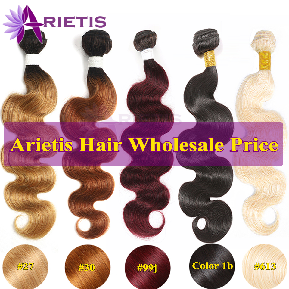 Arietis Body Wave Brazilian Remy Hair Weave Bundles Human Hair Bundles WholeSale #27/#30/#613/#99j/Natural Color Ombre Bundles