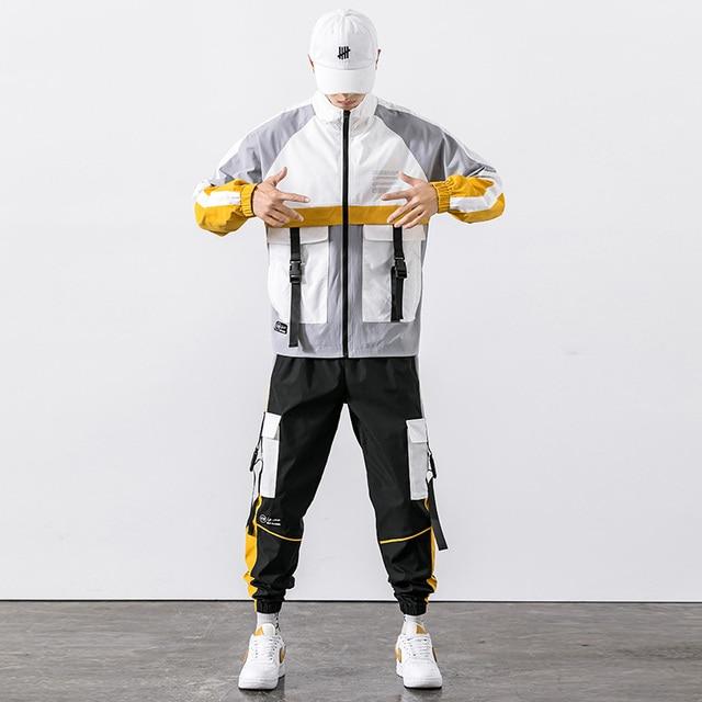 2021 Hip Hop Workwear jacket Mens Tracksuit Jacket+Pants 2PC Sets baseball loose Zipper Ribbons Coat & Long Pants Mens Clothing 5