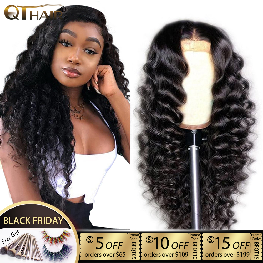 QT 4*4 Lace Closure Human Hair Wigs Brazilian Loose Deep Wave For Black Women Pre-Plucked Lace Closure Human Hair Wig