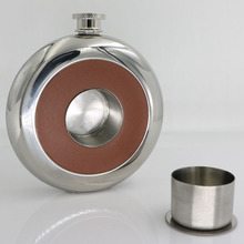 5OZ Hip Flask and Round Flask with Shot Glass and Funnel Inlaying Leather for Men Gift Set Portable Mini Flask for Rum Whiskey 2000ml glass erlenmeyer flask 2000ml glass conical flask laboratory use 2000glass triangle flask boro glass gg17