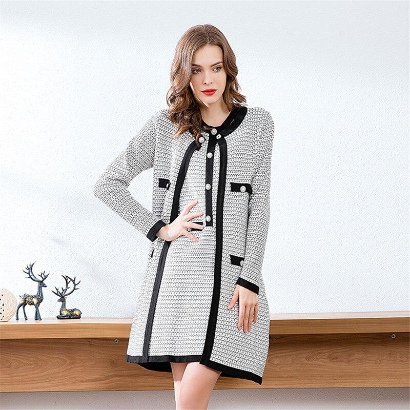 2019 новые зимние женские комплекты однобортные шерстяные пальто с длинным рукавом и круглым вырезом + Офисная Женская юбка и жилет одежда из