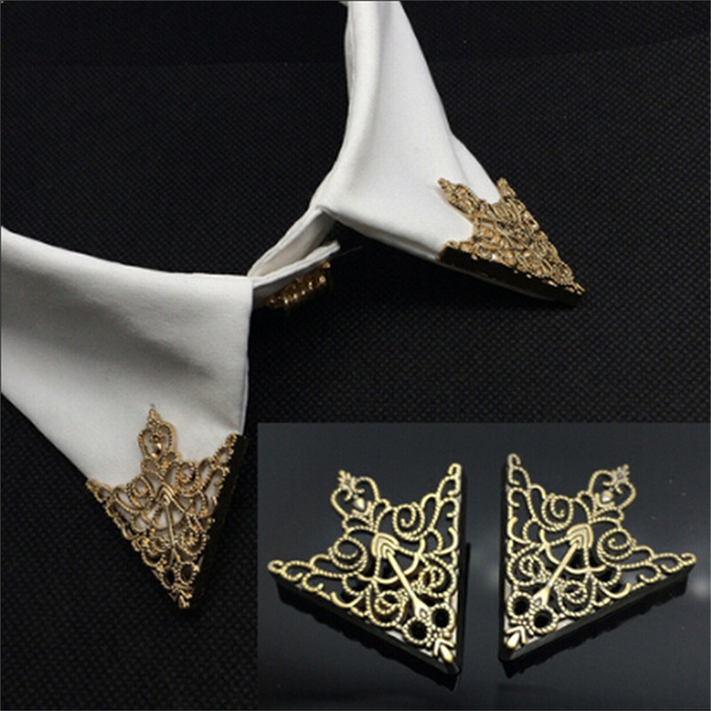 Fashion Shirt Collar Brooch Pin Corner Buckles Vintage Crown Hollow Pattern For Men Women Corner Clothing Accessories