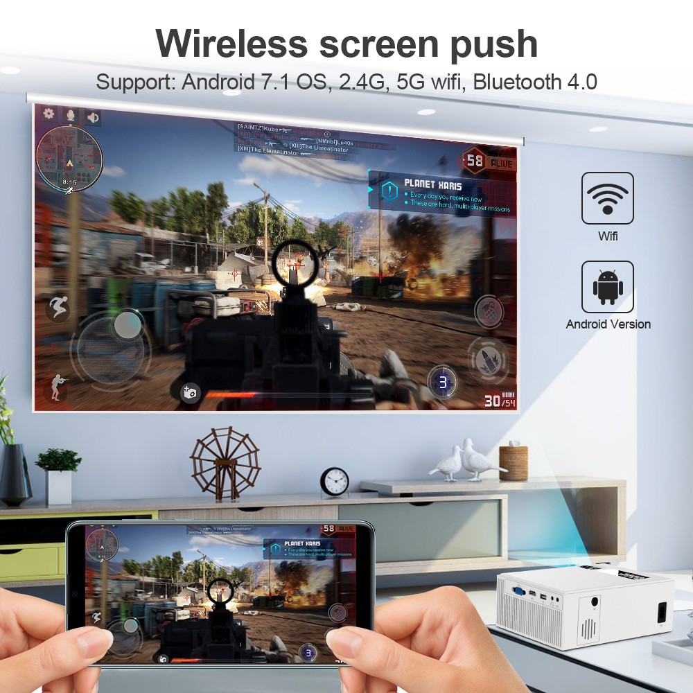 Image 5 - CRENOVA 2019 The Best Sale Android Video Projector C8 1280*720P Native Resolution With WIFI Bluetooth Home Cinema Movie Beamer-in LCD Projectors from Consumer Electronics