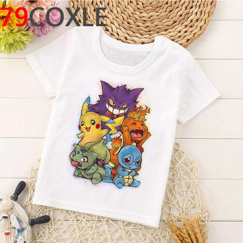 Kawaii Pikachu T Shirt Kinder Sommer Top Cartoon Kinder T-shirt Pokemon Lustige Grafik T-shirt Mode Unisex Anime Hemd Kinder