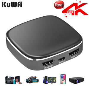KuWFi 4K60fps Video Capture Device Type C Interface Grabber Game & Video,Streaming for Xbox,PS4, Switch,DSLR,Camcorders