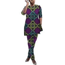 Mode Afrikaanse Vrouwen Half Mouwen Bijpassende Broek Dashiki Print Party Outfits Custom Made Afrika Kleding(China)