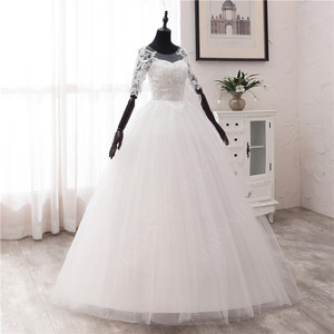 Image 3 - 간단한 오프 화이트 스위트 웨딩 드레스 섬세한 자수 아플리케 o 넥 신부 드레스 볼 가운 저렴한 플러스 사이즈 Vestido De Noiva