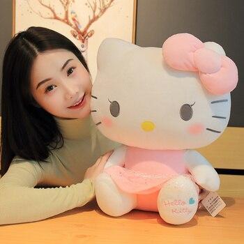 цена на Kawaii Hello Kitty Plush Toys Pink bowknot Dress Kitty Cat Doll Stuffed Toy Super Cute Birthday Gift For Girl Baby