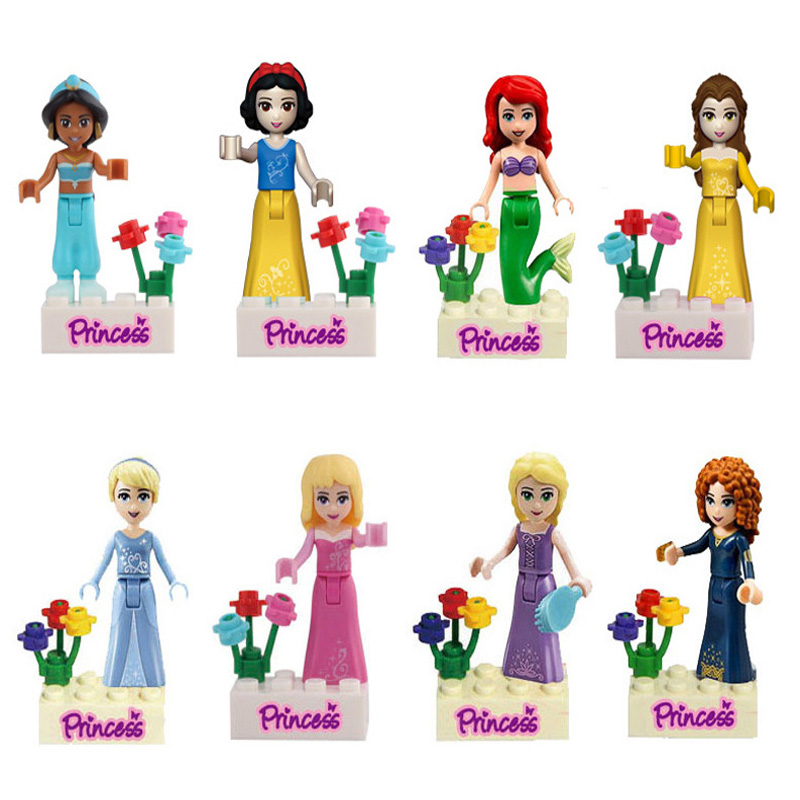 Girl Princess Figure Mermaid Snow White Belle Jasmine Cinderella Princess Blocks Compatible Legoinglys Friends 8pcs