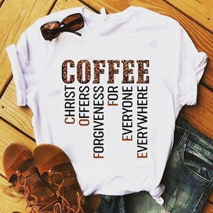 Womens O Neck Fun Tees Summer Cute Coffee Letter Printed T-Shirts Tops Women 2020 Women Clothes Pure white wild top#T2