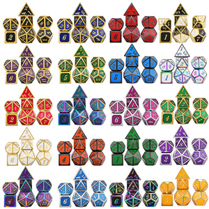 DnD Metal Dice RPG MTG Dice Italics Font Dice Include Dice Pouch A Variety of Colors D4 D6 D8 D10 D12 D20(China)