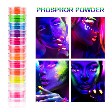12Box Neon Pigment Powder Nail Fluorescence Gradient Glitter Shinny Dust Fluorescence DIY Nail Art Decor Manicure set 1