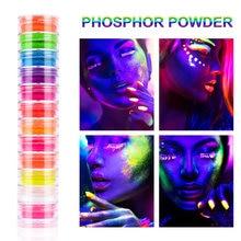 12Box Neon Pigment Powder Nail Fluorescence Gradient Glitter Shinny Dust Fluorescence DIY Nail Art Decor Manicure set