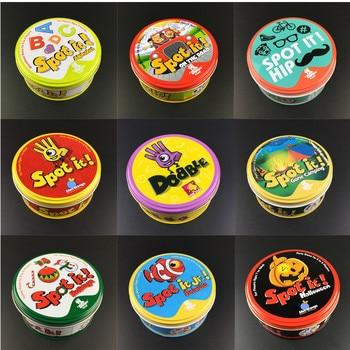 Spot it y dobble juego de mesa para Dobbles niños punto tarjetas It Go Camping Metal hojalata juguetes básicos inglés