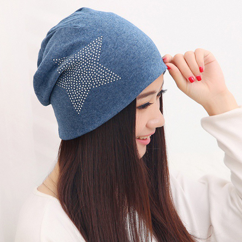 ELIfashion Fashion Rhinestone Glitter Hats Women Winter Knitted Caps Big Star Elastic Women's Hat Female Cotton Cap  5 Colors