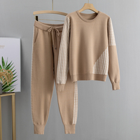 Jacquard Knit 2 Piece Set Tracksuits Fall Winter Basic Women Pullover Sweater + Carrot Harem Pants Sporting Suit Female