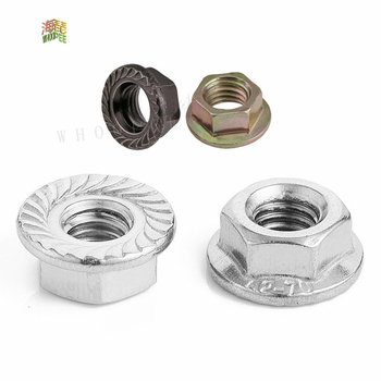Free Shipping  10/25/50pcs Stainless Steel Hexagon Flange Nut M3 M4 M5 M6 M8 M10 M12 Zinc Plated Carbon Steel Flange Nut DIN6923 50pcs pt2272 m6 ptc sop free shiping